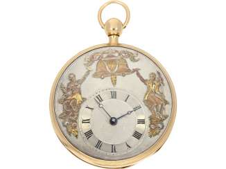 Pocket watch: very fine, large rose-gold-plated figure, automaton Jacquemart with decentralized dial and figures in the exception of quality