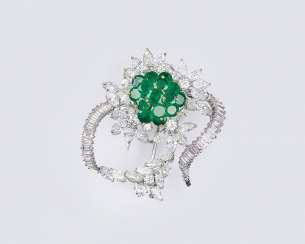 Vintage Emerald Diamond Brooch 'Blossom'