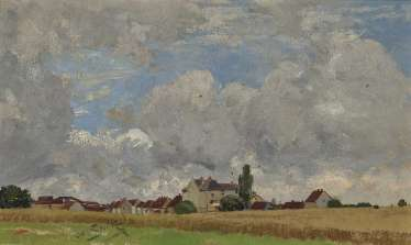 Landscape with view of a village