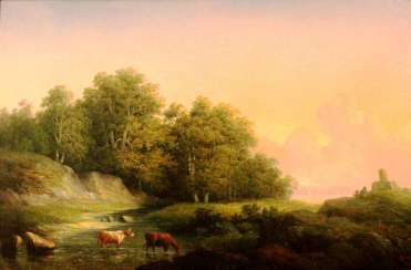 "Teodor Biling (1817-1892). ""Landscape with cows"" , XIX century"