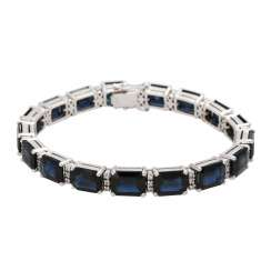 Sapphire bracelet approx. 34 ct with diamonds