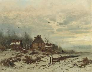 Friedrich Joseph Heydendahl, winter landscape with farmstead