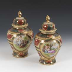 Pair of cover vases in the Viennese style