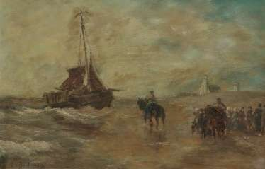 Beach scene with sailing boat and figure staffage