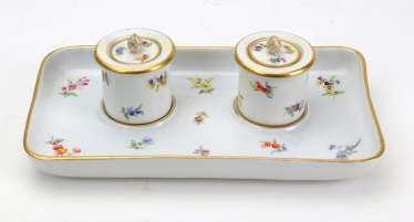 Meissen ink vessel *flowers* around 1880