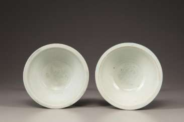 A pair of small white glaze bowls in the Song Dynasty