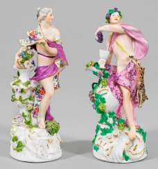 Pair of allegorical figures of spring and autumn