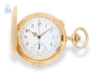 Pocket watch: fine gold savonnette with Chronograph and Repetition, very nice quality, Fabrique Aureole/Vertex SA, Successeur de Ph. Wolff, Switzerland, around 1900