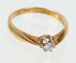 Ring - yellow gold/WG 585 brilliant solitaire