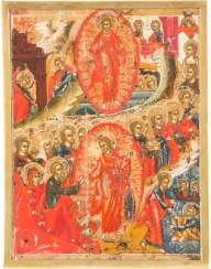 SMALL ICONS-FRAGMENT WITH THE RESURRECTION AND DESCENT INTO HELL