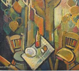 A.Clement around 1950, oil on board, still-life