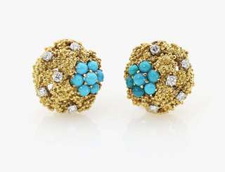 A pair of ear clips with turquoise and diamonds France, Paris 1970, BOUCHERON