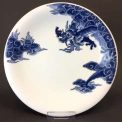 Bowl / Wall Plate: Meissen Porcelain. Dragons in underglaze blue.