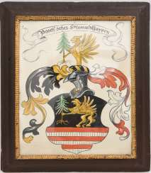 POSCHER family coat of arms, Oil on panel, behind glass framed, around 1900