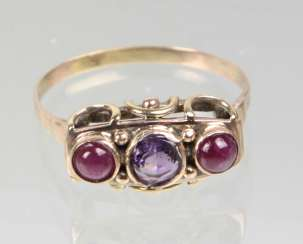 antique Ring with Amethyst & ruby
