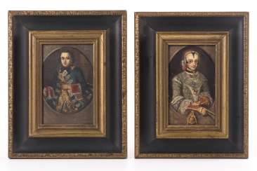 Pair of baroque miniature portraits with a ruling couple