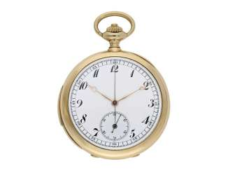 Pocket watch: very fine, intricate pocket watch with minute repetition and Chronograph, Mons. B. Poitevin & V. Lejeune, L. Gironde Succr., 22 Rue Vivienne, Paris, No. 65243, CA. 1890