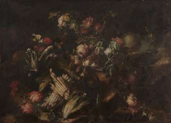 Milan, 2nd half of the 17th century, still life with flowers with asparagus