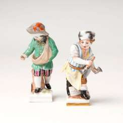 Pair of porcelain monthly figures 'January' and 'April'