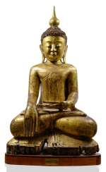 Monumental figure of Buddha Shakyamuni, made of wood with black and Golden lacquer collection