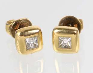 Princess Diamond Stud Earrings - Yellow Gold 750