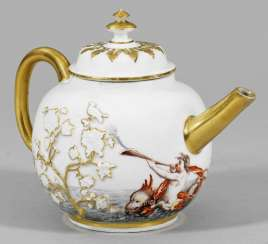 Rare teapot with house painting