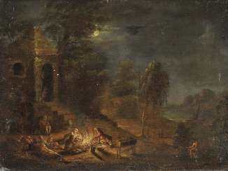 UNKNOWN 18. Century. Moonlight landscape with a stock company at a fire place