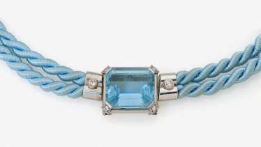 Necklace with aquamarine and diamonds. Germany, 1970s