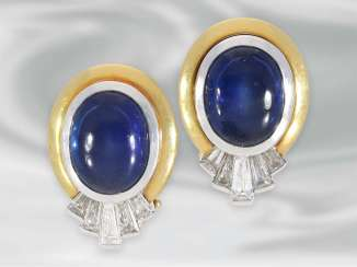 Earrings: decorative sapphire/diamond earrings in 18K Gold, hand made, approx. 6,87 ct