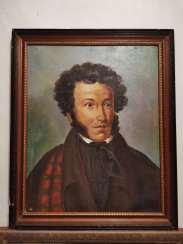Antique painting Russia. Portrait of AS Pushkin