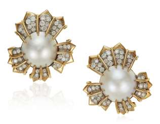 TIFFANY & CO. SCHLUMBERGER MABÉ PEARL AND DIAMOND EARRINGS
