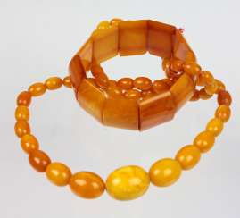 Amber olive chain and bracelet