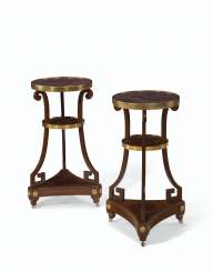 A PAIR OF NORTH EUROPEAN ORMOLU-MOUNTED MAHOGANY AND PORPHYR...
