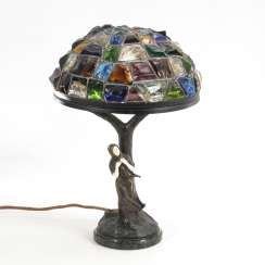 Art Nouveau table lamp with Chryselephantin figure