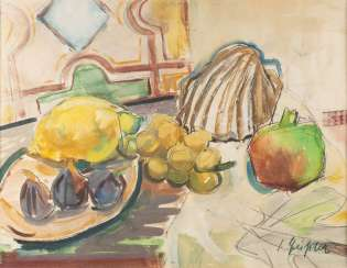 SENTA GEISSLER 1902 Heidelberg 2000 Ludwigshafen, Germany. STILL LIFE WITH FRUIT AND SHELLFISH