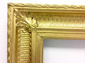 Neo-classical frame with pipes cut, gold, France, around 1800.