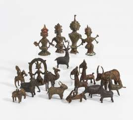 18 small figures of gods and animals