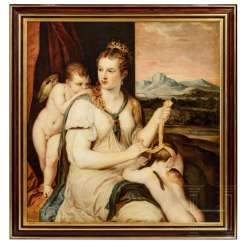 "Painting ""Venus and Amor"", after Luca Giordano, 18./19. century"