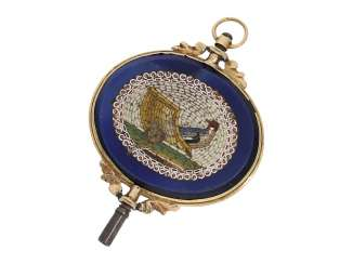 Watch key: rarity, Golden spindle, watch key, around 1800, with 2 micro mosaic Pietra Dura representations