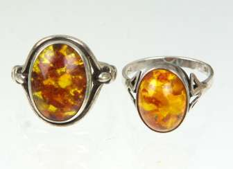 2 Amber Rings, Silver 835