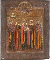 TWO ICONS: SAINT NICHOLAS OF MYRA AND IS A PATRON OF ICON WITH SIX SAINTS