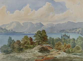 German 19th century, mountain lake with castle