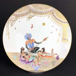 Plate / wall plate: Meissen porcelain 1001 Arabian nights, gold plated, gold ornaments, Prof. Heinz Werner, very good.