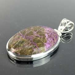 Classic pendant with a rare stone: an elongated shape with a beautiful Variscite / Variszit in brown-violet, silver