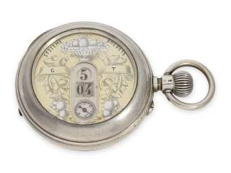 Pocket watch: rare digital pocket watch with jumping hour and jumping Minute, brand Revue, 1900