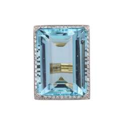 Aquamarine ring approx. 36 ct with diamonds