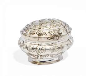 Oval sugar bowl with floral decor