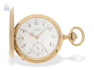 Pocket watch: important glashuette gold savonnette, very early A. Lange & Söhne Anchor chronometer quality 1A, one of the few copies with the rare patent rücker fine adjustment, Glashütte 1881, with the master excerpt from the book