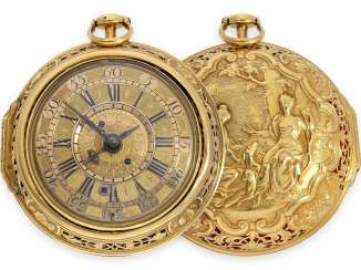 Pocket watch: technical rarity, golden English pocket watch with self-strike, repeater and alarm clock, William Winrowe London No.135, 1718-1734