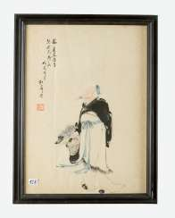 Chinese Painting, Indian ink on paper, under glass, signed, 19.Qing Dynasty